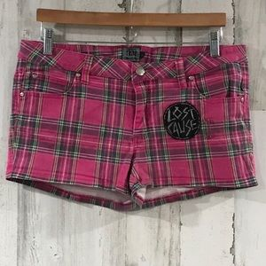 Tripp nyc Lost Cause Pink Plaid Shorts Size 11